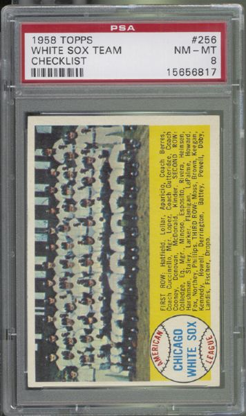 1958 Topps #256 White Sox Team Checklist PSA 8 NM/MT
