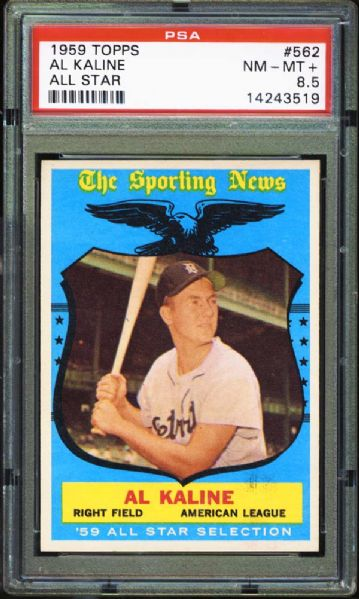 1959 Topps #562 Al Kaline All Star PSA 8.5 NM/MT+