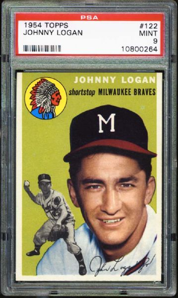 1954 Topps #122 Johnny Logan PSA 9 MINT