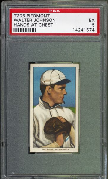 1909-11 T206  Walter Johnson Hands at Chest PSA 5 EX