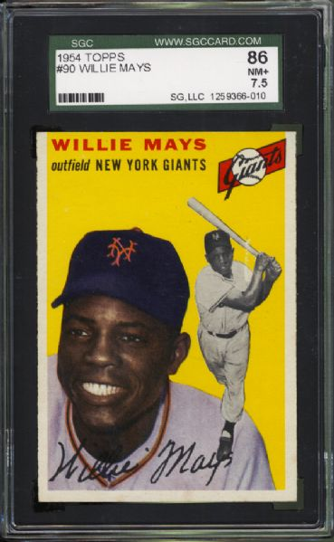 1954 Topps #90 Willie Mays SGC 86 NM+ 7.5