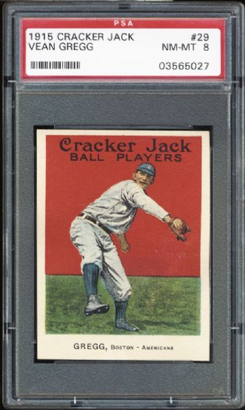 1915 Cracker Jack #29 Vean Gregg PSA 8 NM/MT