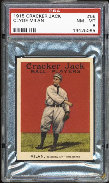 1915 Cracker Jack #56 Clyde Milan PSA 8 NM/MT