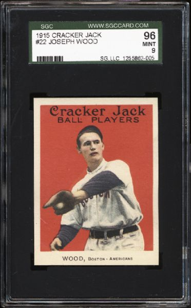 1915 Cracker Jack #22 Smoky Joe Wood SGC 96 MINT 9