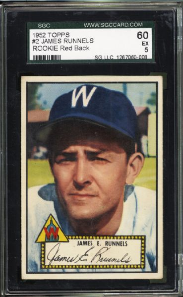 1952 Topps #2 James Runnels SGC 60 EX 5