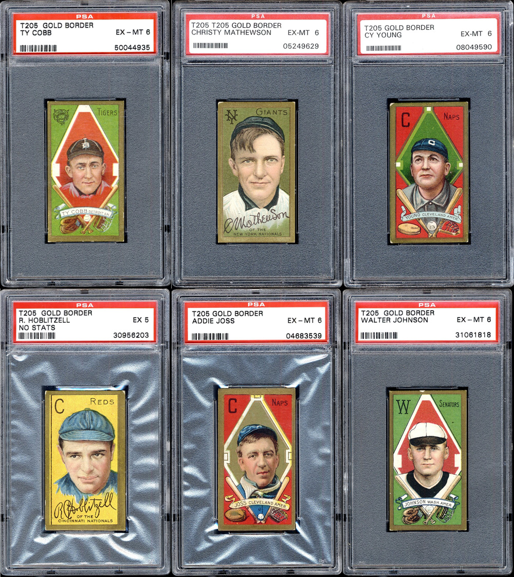 vintage baseball cards, t205, gold border