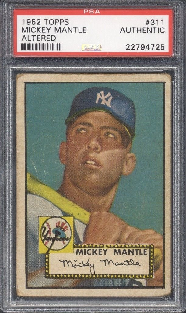 sell your sports cards, win a 1952 topps Mickey Mantle card