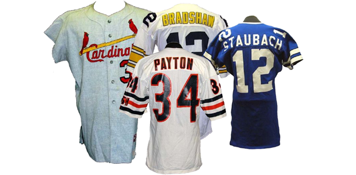 walter peyton, roger staubach, terry bradshaw, game used jersey, football memorabilia