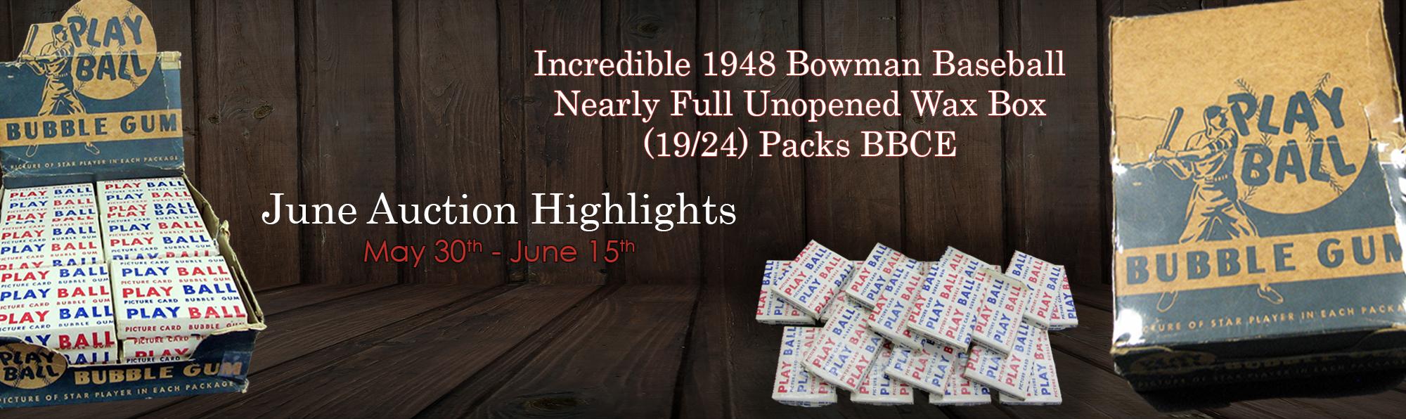 1948 Bowman Baseball Nearly Full Unopened Wax Box (19/24) Packs BBCE