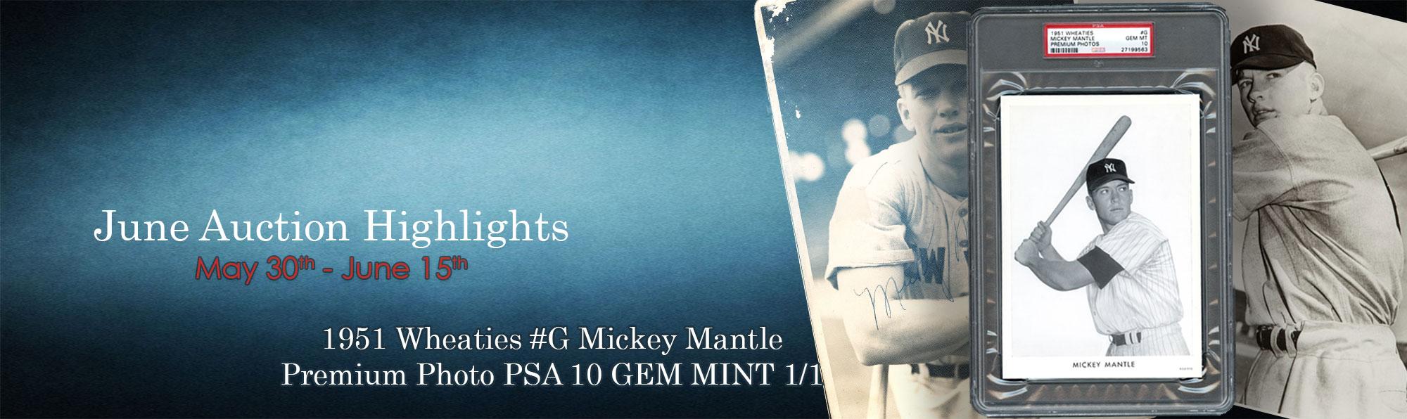1951 Wheaties #G Mickey Mantle Premium Photo PSA 10 GEM MINT 1/1