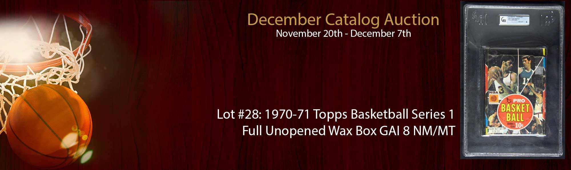 1970-71 Topps Basketball Series 1 Full Unopened Wax Box GAI 8 NM/MT