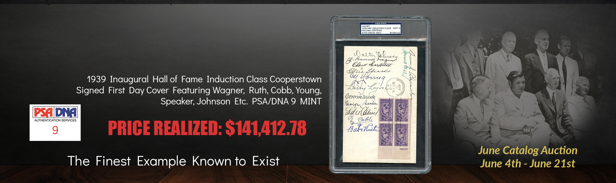 1939 Inaugural Hall of Fame Induction Class Signed First Day Cover Featuring Wagner, Ruth, Cobb, Young, Speaker, Johnson, etc. PSA/DNA 9 MINT