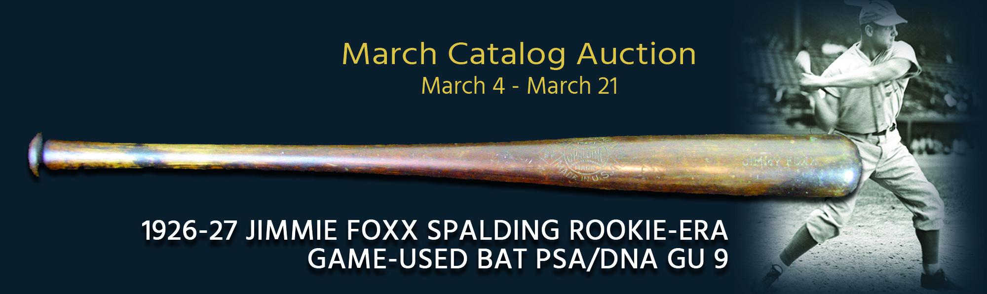 1926-27 Jimmie Foxx Spalding Rookie-era Game-used Bat PSA/DNA GU 9