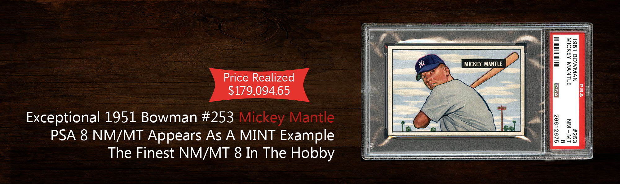 1951 Bowman #253 Mickey Mantle PSA 8