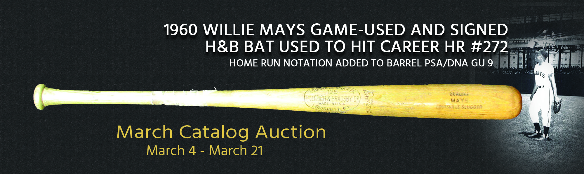 1960 Willie Mays Game-Used and Signed H&B Bat Used to Hit Career HR #272