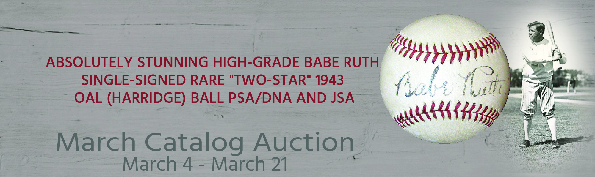Absolutely Stunning High-Grade Babe Ruth Single-Signed Rare