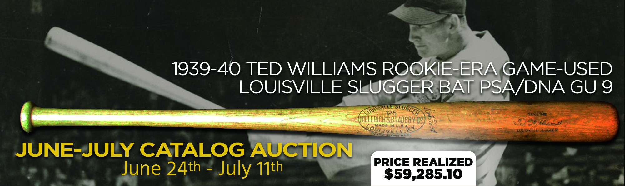 Ted Williams Game-Used Bat PSA/DNA GU 9